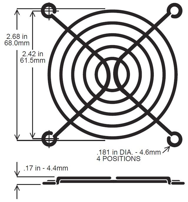 Model Number Wfg 70 70mm Wire Fan Guard On Pelonis Technologies Inc