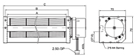 EC Cross Flow Fan JET-050A Series - Dimensions