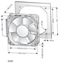 DC Fan P1238-7 Dimensional Drawing